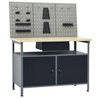 vidaXL Работна маса с три стенни панела