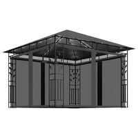 vidaXL Шатра с мрежа срещу комари/LED стринг 3x3x2,73 м таупе 180 г/м²