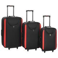 vidaXL Меки куфари на колелца, 3 бр, черни, плат Оксфорд