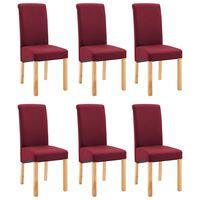 vidaXL Трапезни столове, 6 бр, червени, текстил