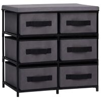 vidaXL Шкаф за съхранение с 6 чекмеджета, 55x29x55 см, сив, стомана
