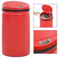 vidaXL Кош за смет с автоматичен сензор 50 л въглеродна стомана червен