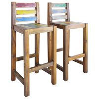 vidaXL Бар столове, 2 бр, регенерирана дървесина масив
