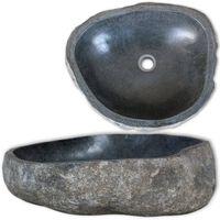 vidaXL Овална мивка от речен камък, 38-45 см