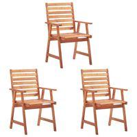 vidaXL Градински трапезни столове, 3 бр, акация масив