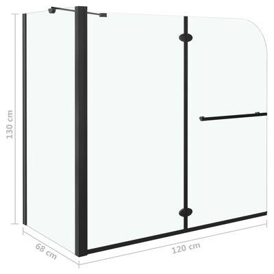 vidaXL Душ параван хармоника, ESG стъкло, 120x68x130 см, черен