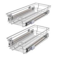 vidaXL Плъзгащи се телени кошници, 2 бр, сребристи, 300 мм