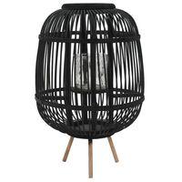 vidaXL Свободностоящ свещник фенер, бамбук, черен