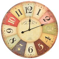 vidaXL Винтидж стенен часовник, цветен, 60 см