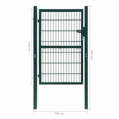 2D Оградна врата, единична, зелена, 106 х 190 см