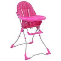 vidaXL Високо бебешко столче за хранене, розово и бяло