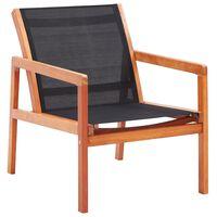 vidaXL Градински релакс стол черен евкалиптово дърво масив и textilene