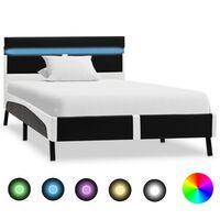vidaXL Рамка за легло с LED, черна, изкуствена кожа, 90x200 cм