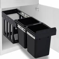 vidaXL Кош за вграждане за кухненски шкаф, плавно затваряне, 20 л