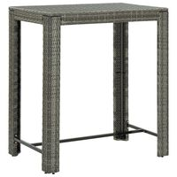 vidaXL Градинска бар маса, сива, 100x60,5x110,5 см, полиратан