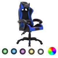 vidaXL Геймърски стол RGB LED осветление синьо/черно изкуствена кожа