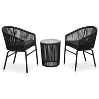 vidaXL Бистро комплект, 3 части, с възглавници, PVC ратан, черен