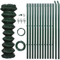 vidaXL Оградна мрежа с колове, стомана, 1,5x25 м, зелена