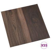 vidaXL Самозалепващи подови дъски, 55 бр, PVC, 5,11 м², тъмнокафяви
