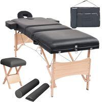 vidaXL Сгъваема масажна кушетка с 3 зони, столче, 10 см пълнеж, черна