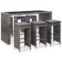 vidaXL Градински бар комплект с възглавници, 7 части, полиратан, сив