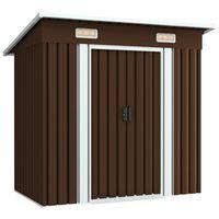 vidaXL Градинска барака за съхранение, кафява, 194x121x181 см, стомана
