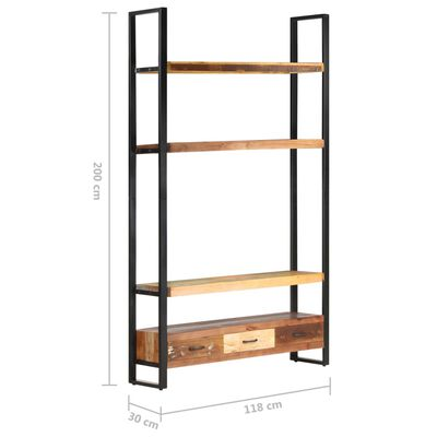 vidaXL Висок шкаф, 118x30x200 см, регенерирано дърво масив
