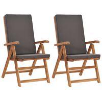 vidaXL Накланящи градински столове с възглавници 2 бр тик масив сиви