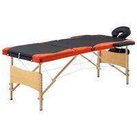 vidaXL Сгъваема масажна кушетка, 3 зони, дърво, черно и оранжево