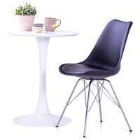 vidaXL Трапезни столове, 4 бр, черни, изкуствена кожа