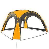 vidaXL Парти шатра с LED и 4 стени, 3,6x3,6x2,3 м, жълта