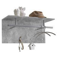 FMD Стенна закачалка за дрехи, 72x29,3x34,5 см, бетонно сива