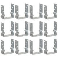 vidaXL Оградни подпори 12 бр сребристи 12x6x15 см поцинкована стомана