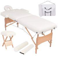 vidaXL Сгъваема масажна кушетка с 2 зони, столче, 10 см пълнеж, бяла