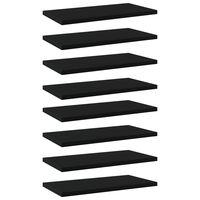vidaXL Рафтове за етажерка, 8 бр, черни, 40x20x1,5 см, ПДЧ