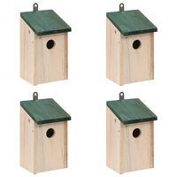 vidaXL Къщи за птици, 4 бр, дърво, 12x12x22 см