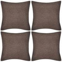 vidaXL Калъфки за възглавници, 4 бр, кафяви с ленен вид, 50x50 см