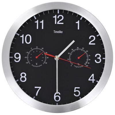 vidaXL Стенен часовник с кварц, хигрометър и термометър, 30 см, черен