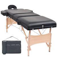 vidaXL Сгъваема масажна кушетка с 3 зони, 10 см плътен пълнеж, черна