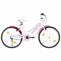 vidaXL Детски велосипед, 24 цола, розово и бяло