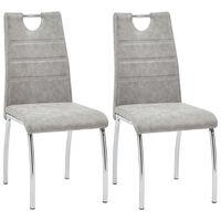 vidaXL Трапезни столове, 2 бр, светлосиви, изкуствена кожа