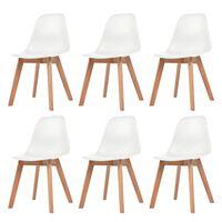 vidaXL Трапезни столове, 6 бр, бели, пластмаса