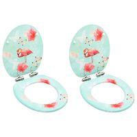 vidaXL Тоалетни седалки с плавно затваряне 2 бр МДФ дизайн фламинго