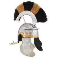 vidaXL Римски военен шлем, антична реплика, ЛАРП, сребрист, стомана