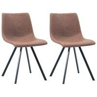 vidaXL Трапезни столове, 2 бр, средно кафяви, изкуствена кожа