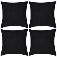 vidaXL Калъфки за възглавници, 4 бр, памук, 50 x 50 см, черни