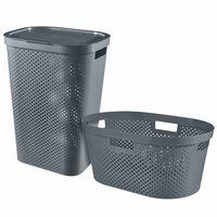 Curver Комплект кош и кошница за пране Infinity, 40 л + 60 л, антрацит