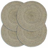 vidaXL Подложки за хранене, 4 бр, сиво, 38 см, кръгли, юта