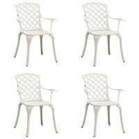 vidaXL Градински столове, 4 бр, лят алуминий, бели