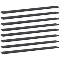 vidaXL Рафтове за етажерка, 8 бр, сиви, 100x10x1,5 см, ПДЧ